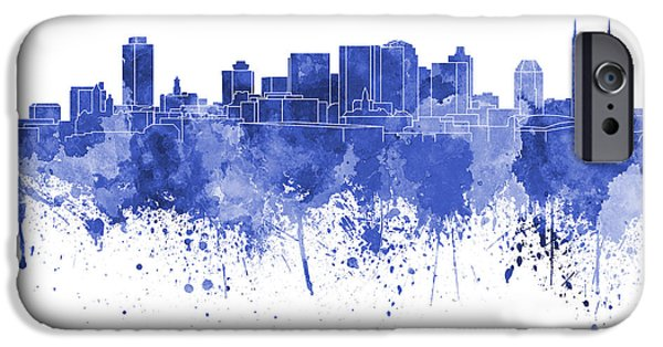 Nashville Tennessee Paintings iPhone Cases - Nashville skyline in blue watercolor on white background iPhone Case by Pablo Romero