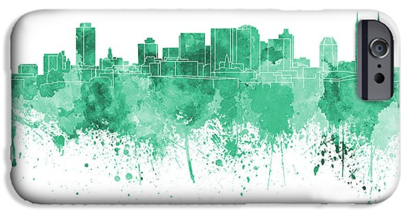 Nashville Tennessee Paintings iPhone Cases - Nashville skyline in green watercolor on white background iPhone Case by Pablo Romero