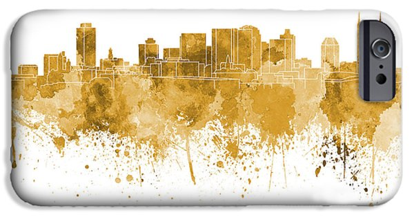Nashville Tennessee Paintings iPhone Cases - Nashville skyline in orange watercolor on white background iPhone Case by Pablo Romero