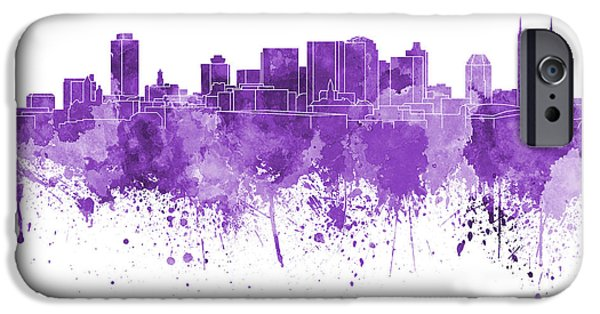 Nashville Tennessee Paintings iPhone Cases - Nashville skyline in purple watercolor on white background iPhone Case by Pablo Romero