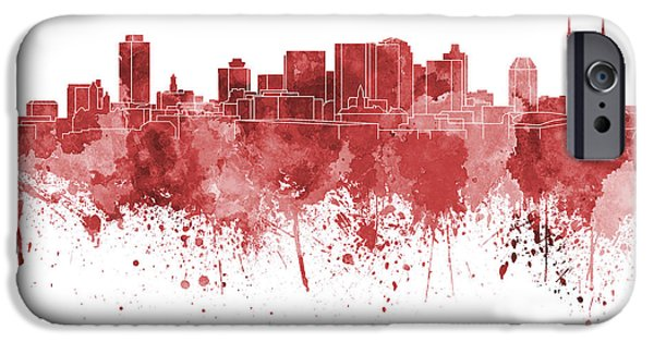Nashville Tennessee Paintings iPhone Cases - Nashville skyline in red watercolor on white background iPhone Case by Pablo Romero