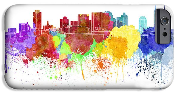 Nashville Tennessee Paintings iPhone Cases - Nashville skyline in watercolor on white background iPhone Case by Pablo Romero