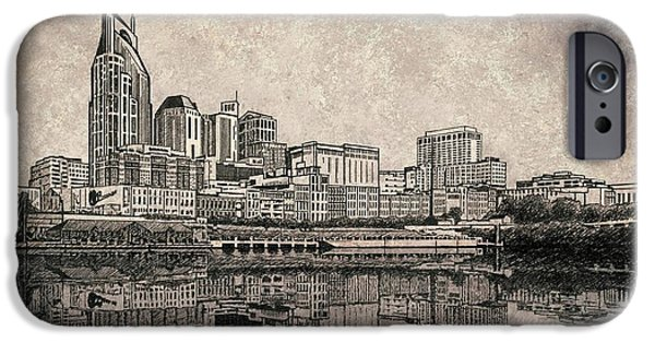Nashville Tennessee Paintings iPhone Cases - Nashville Skyline Mixed Media painting  iPhone Case by Janet King