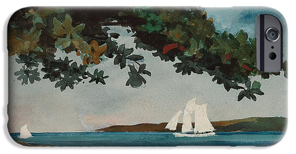 Winslow Homer iPhone Cases - Nassau   Water and Sailboat iPhone Case by Winslow Homer