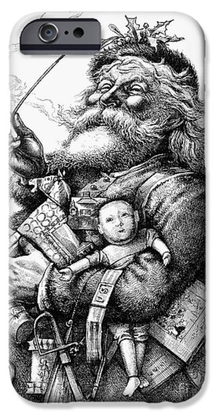 Nast iPhone Cases - Nast: Santa Claus, 1880 iPhone Case by Granger