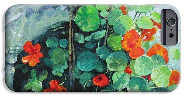 Flora iPhone Cases - Nasturtiums iPhone Case by Elena Oleniuc