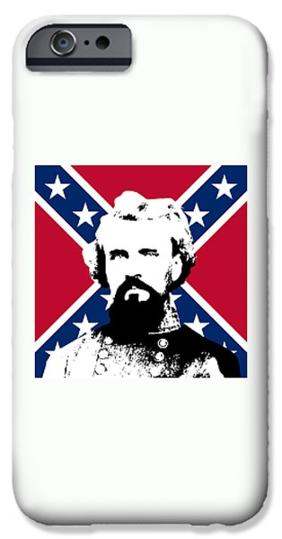 Civil War Digital Art iPhone Cases - Nathan Bedford Forrest and The Rebel Flag iPhone Case by War Is Hell Store