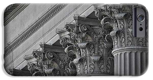 Facade iPhone Cases - National Archives Columns #2 iPhone Case by Stuart Litoff
