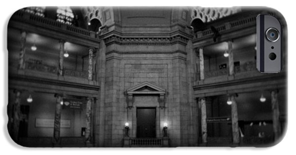 National Museum Of America History iPhone Cases - National Museum of Natural History Rotunda BW iPhone Case by Kyle Hanson
