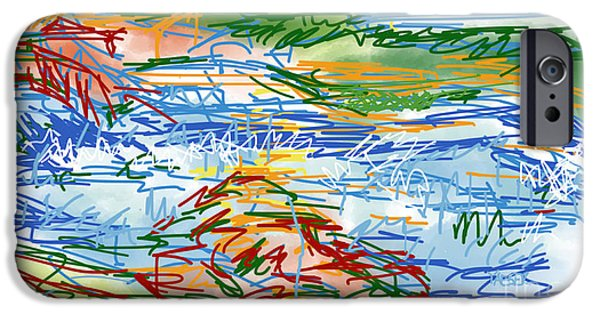 Abstract Digital Drawings iPhone Cases - National Whitewater Center Abstract Sketch iPhone Case by Robert Yaeger
