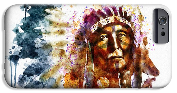 Marian iPhone Cases - Native American Chief iPhone Case by Marian Voicu