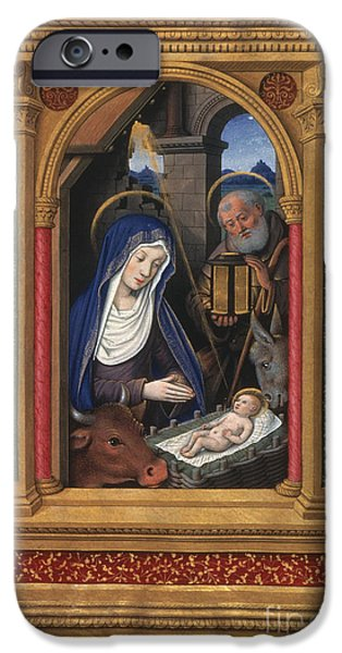 Holy Cow iPhone Cases - NATIVITY, FRENCH, c1510 iPhone Case by Granger