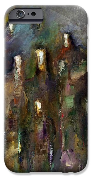 Abstract On Canvas Paintings iPhone Cases - Natural Instincts iPhone Case by Frances Marino