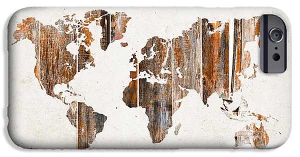 Different Worlds iPhone Cases - Natural planks world map iPhone Case by Delphimages Photo Creations