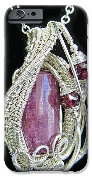 Jordan Jewelry iPhone Cases - Natural Ruby Gemstone Wire-Wrapped Pendant in Sterling Silver with Rhodolite Garnet RBPSS1 iPhone Case by Heather Jordan