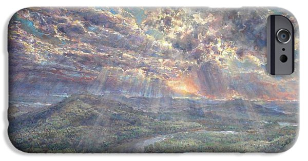 Sun Rays Paintings iPhone Cases - Naturally Dramatic iPhone Case by Jimmy Leach