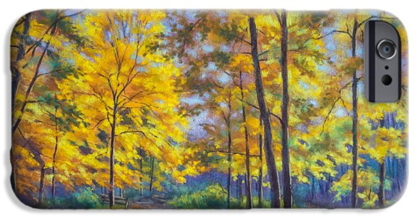 Autumn Landscape Pastels iPhone Cases - Nature Trail Turn of Autumn iPhone Case by Fiona Craig