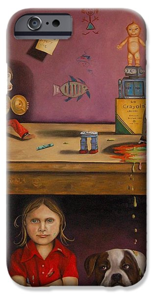 Interior Still Life iPhone Cases - Naughty Child iPhone Case by Leah Saulnier The Painting Maniac