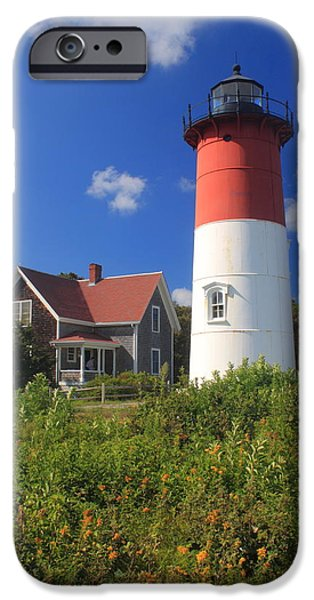 Cape Cod iPhone Cases - Nauset Lighthouse Cape Cod iPhone Case by John Burk