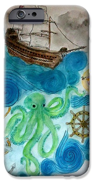 Pirate Ship iPhone Cases - Nautical Abstract iPhone Case by Jennie Hallbrown