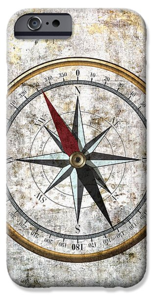 Recently Sold -  - Sailing iPhone Cases - Nautical Compass Rose iPhone Case by Daniel Hagerman