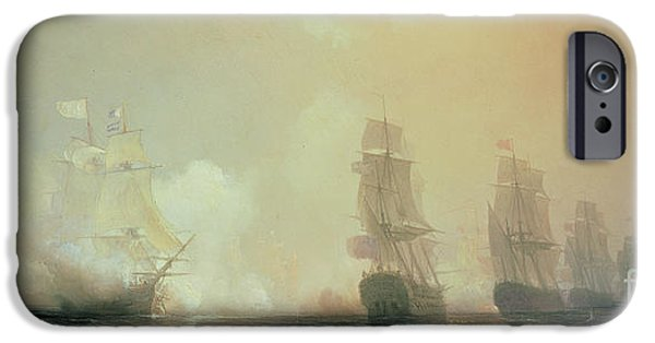 Boats In Water iPhone Cases - Naval Battle in Chesapeake Bay iPhone Case by Jean Antoine Theodore Gudin