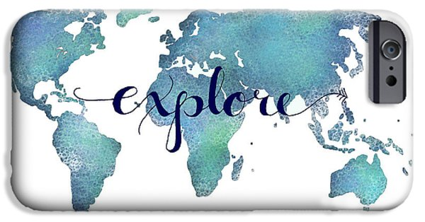 Travel iPhone Cases - Navy and Teal Explore World Map iPhone Case by Michelle Eshleman