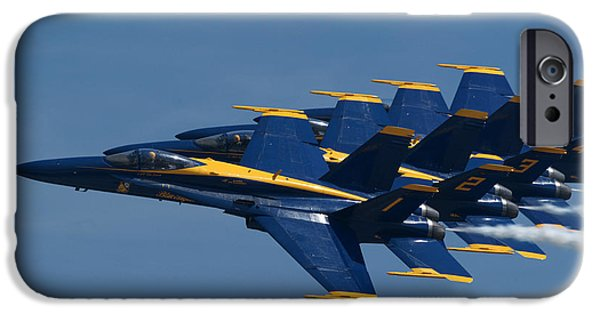 Angel Blues iPhone Cases - Navy Blue Angels iPhone Case by Gordon Ellingson