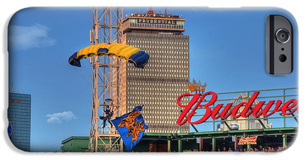 Fenway Park iPhone Cases - Navy Seals Parachuting Over Fenway Park - Boston iPhone Case by Joann Vitali