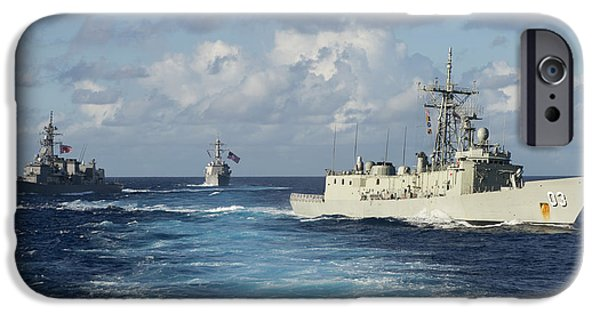 Break Fast iPhone Cases - Navy Ships break formation iPhone Case by Celestial Images