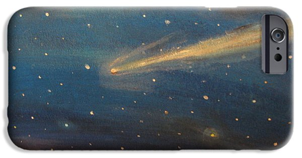 Outer Space Pastels iPhone Cases - Near Miss Comet iPhone Case by Lee Kaczorowski