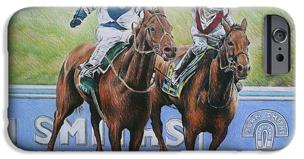 Horse Racing iPhone Cases - Nearing The Finish iPhone Case by Andrew Read