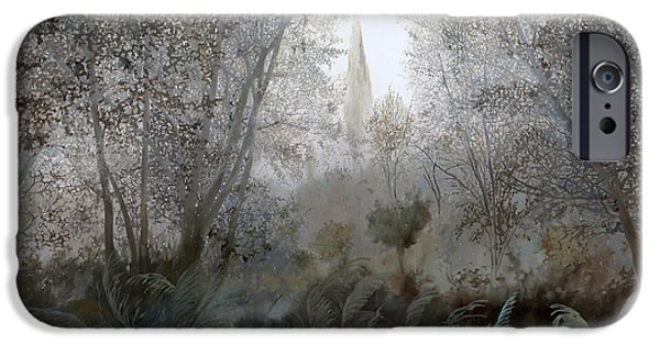 Mist Paintings iPhone Cases - Nebbia Nel Bosco iPhone Case by Guido Borelli