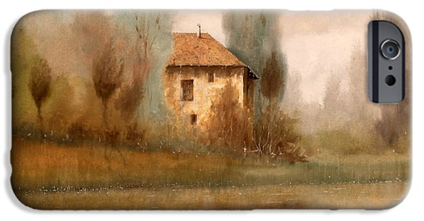 Mist Paintings iPhone Cases - Nebbiolina Autunnale iPhone Case by Guido Borelli