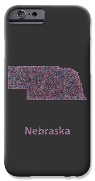 Multicolor iPhone Cases - Nebraska map iPhone Case by David Zydd