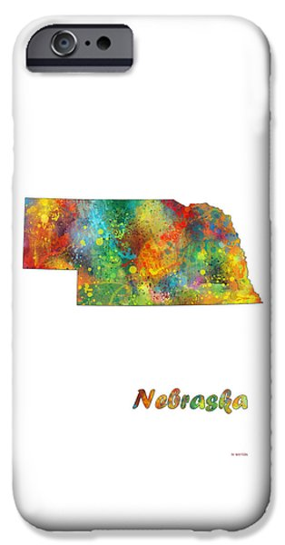 Nebraska iPhone Cases - Nebraska  State Map iPhone Case by Marlene Watson