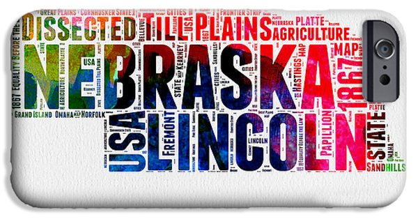 4th July Mixed Media iPhone Cases - Nebraska Watercolor Word Cloud  iPhone Case by Naxart Studio