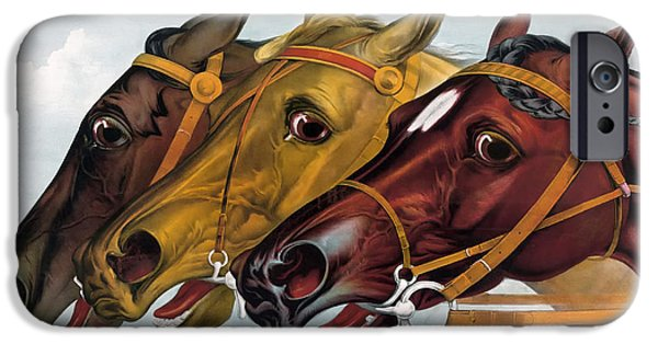 Horse Racing iPhone Cases - Neck And Neck iPhone Case by Karen Arnold
