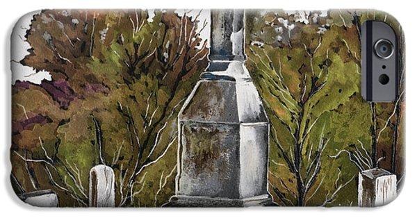 Headstones Paintings iPhone Cases - Necropolis iPhone Case by Brenda Owen