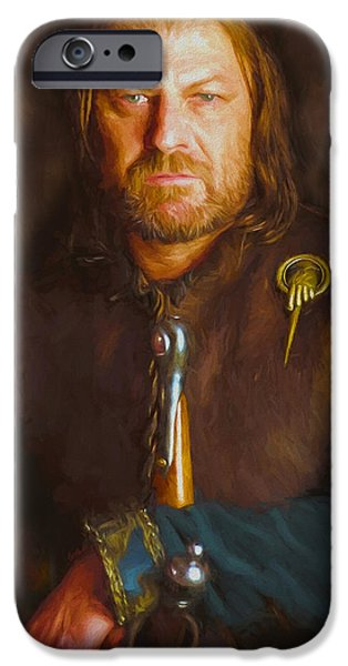 Celebrities Art iPhone Cases - Ned Stark iPhone Case by Nikola Durdevic
