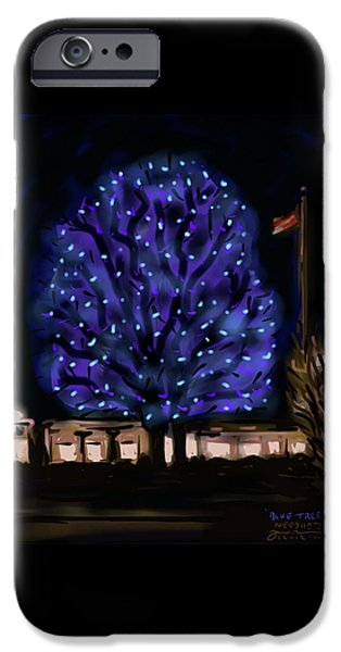 Christmas iPhone Cases - Needhams Blue Tree iPhone Case by Jean Pacheco Ravinski