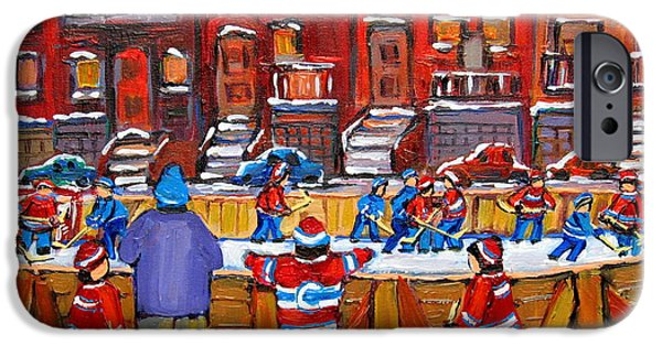 After School Hockey Paintings iPhone Cases - Neighborhood  Hockey Rink iPhone Case by Carole Spandau
