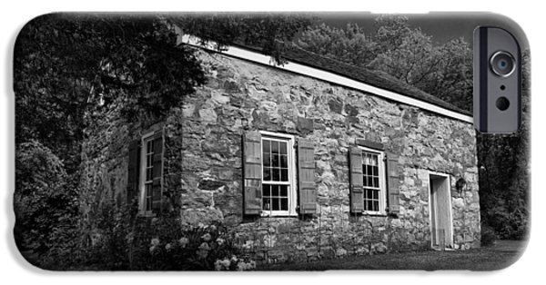 Historic Site iPhone Cases - Neldon - Roberts Stonehouse Montague New Jersey Black and White iPhone Case by David Smith