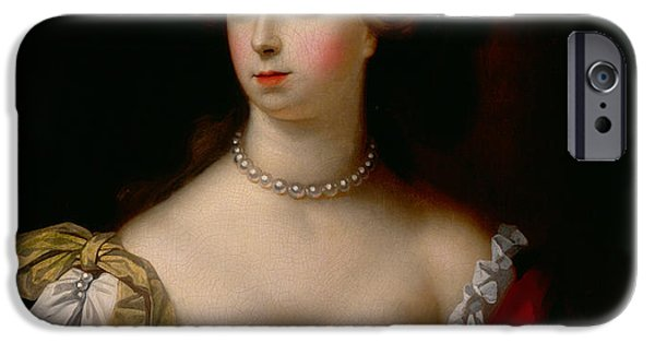 Concubines Paintings iPhone Cases - Nell Gwynn iPhone Case by Simon Pietersz Verelst