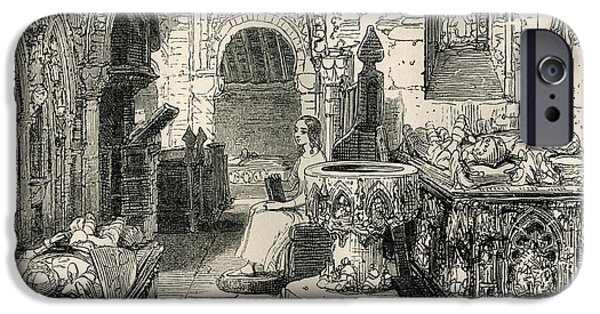Sepulchre Drawings iPhone Cases - Nell Trent Sitting In The Old Church iPhone Case by Vintage Design Pics