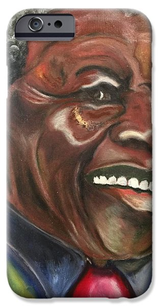 States Pastels iPhone Cases - Nelson Mandela iPhone Case by Ebony Thompson