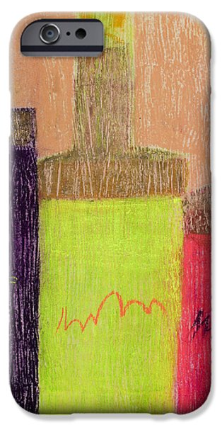 Red Wine Pastels iPhone Cases - Neon Bottles #1 iPhone Case by Diana Wade