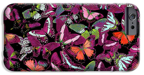 Plant iPhone Cases - Neon Butterflies iPhone Case by JQ Licensing