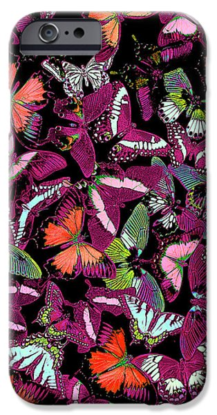 Butterflies Paintings iPhone Cases - Neon Butterfly Vertical iPhone Case by JQ Licensing
