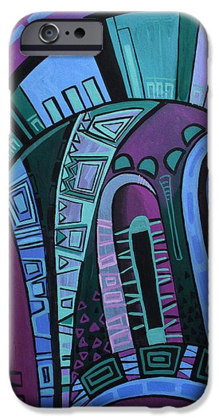 Mix Medium Drawings iPhone Cases - Neon iPhone Case by Deyana Deco